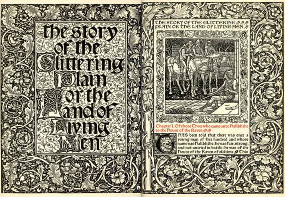 The Story of the Glittering Plain by William Morris, Kelmscott Press, 1891. Courtesy The Victorian Web.