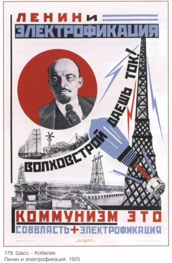 Lenin and electrification Shass-Kobelev 1925